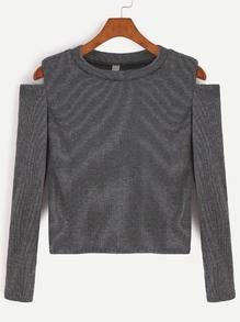 Dark Grey Open Shoulder Crop T-shirt