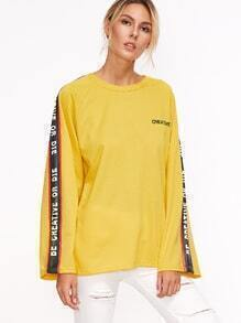Yellow Contrast Letter Print Raglan Sleeve Embroidered T-shirt
