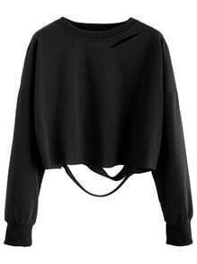 Black Drop Shoulder Cut Out Crop T-shirt