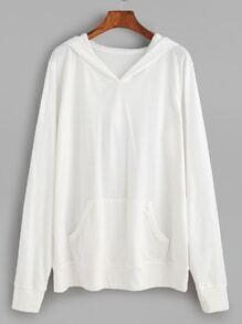 White Hooded Pocket Basic Sweatshirt