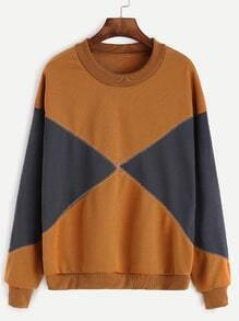 Khaki Contrast Dropped Shoulder Seam Sweatshirt