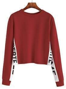 Burgundy Contrast Letter Print Sweatshirt