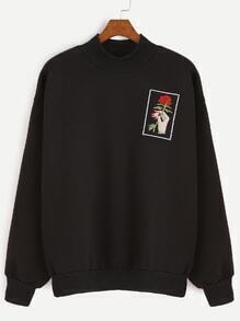 Black High Neck Rose And Hand Embroidery Sweatshirt