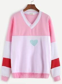 Contrast V Neck Heart Embroidery Sweatshirt