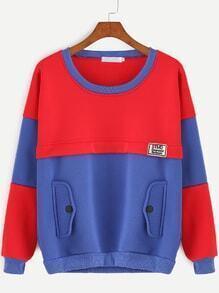 Contrast Drop Shoulder Embroidered Patch Sweatshirt