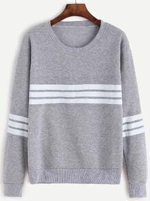 Light Grey Striped Trim Sweatshirt