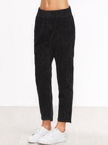 Black Corduroy Elastic Waist Pocket Pants