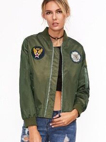 Army Green Printed Patches Zip Detail Bomber Jacket