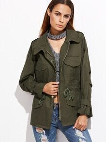Army Green Drop Shoulder Drawstring Waist Utility Coat