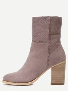 Grey Pointed Toe Chunky Heel Short Boots