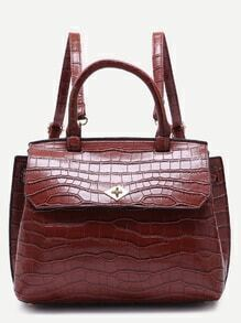 Brown Croc Embossed PU Flap Backpack With Handle