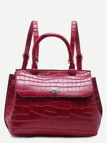Burgundy Croc Embossed PU Flap Backpack With Handle