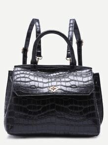 Black Croc Embossed PU Flap Backpack With Handle