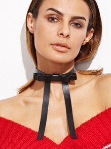Black Faux Leather Bow Tie Choker Necklace