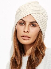 Beige Ribbed Knit Turban Hat