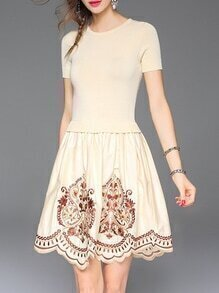 Apricot Knit Embroidered A-Line Combo Dress