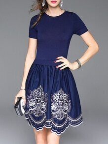 Blue Knit Embroidered A-Line Combo Dress
