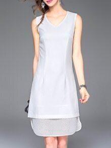 White V Neck Two-pieces Mesh Shift Dress