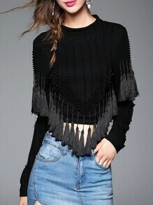 Black Crew Neck Beading Tassel Blouse