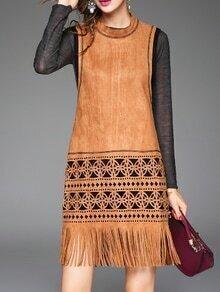 Brown Sleeveless Hollow Pockets Tassel Dress