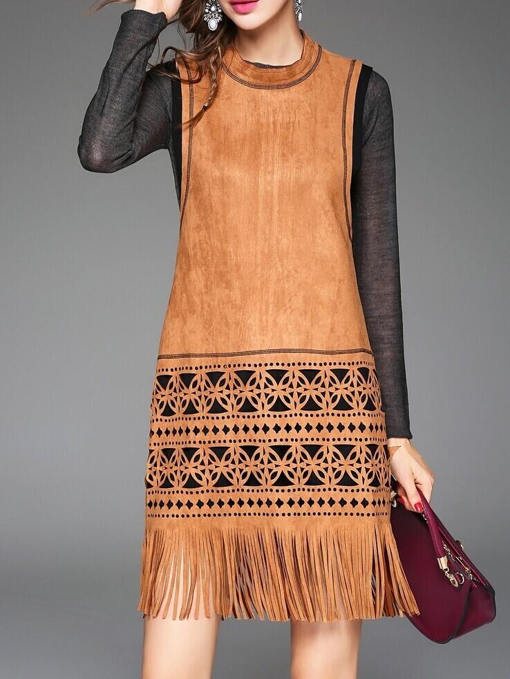 robe sans manche avec frange et poche creux brun french romwe. Black Bedroom Furniture Sets. Home Design Ideas