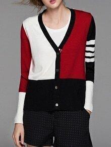 Color Block V Neck Knit Cardigan