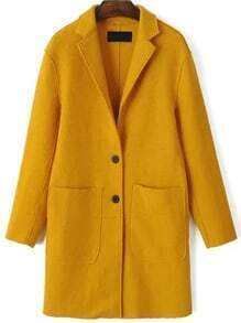 Yellow Single Breasted Pocket Wool Blend Coat