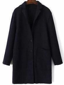 Black Single Breasted Pocket Wool Blend Coat