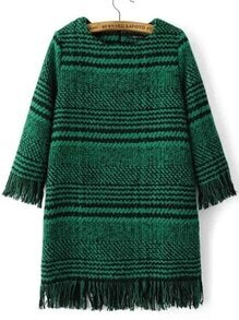 Green Houndstooth Fringe Detail Zipper Back Dress