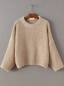 Apricot Waffle Knit Drop Shoulder Sweater