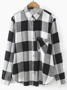 Black And White Plaid Studded Pocket Curved Hem Blouse