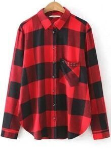 Red Plaid Studded Pocket Curved Hem Blouse