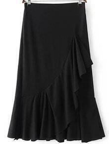 Black Ruffle Hem Midi Skirt