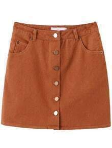 Khaki Button Up Skirt With Pocket