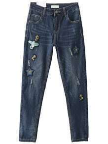 Blue Bird Embroidery Skinny Jeans