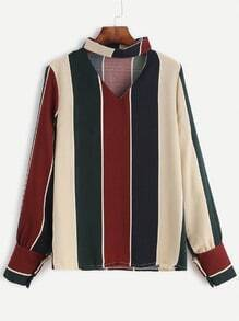 Color Block Striped Choker V Neck Blouse