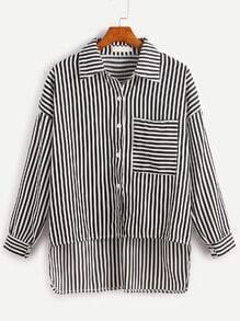 Vertical Striped Drop Shoulder Dip Hem Pocket Blouse