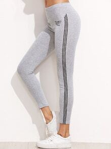Light Grey Letter Print Striped Side Leggings