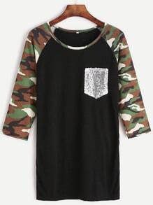 Contrast Camo Print Raglan Sleeve Sequin Pocket T-shirt