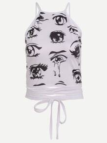 Cartoon Eyes Print Open Back Crisscross Lace Up Top