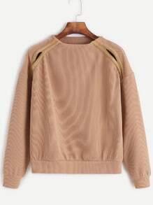 Khaki Crew Neck Cut Out Sweatshirt With Tape Detail