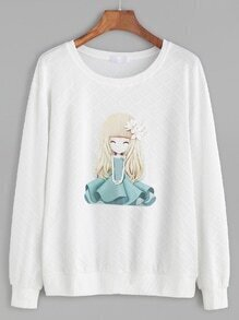 White Girl Print Textured Sweatshirt