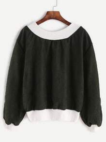 Dark Green Contrast Trim Sweatshirt