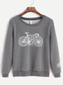 Grey Bicycle Print Sweatshirt