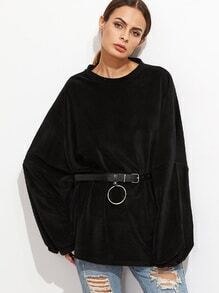 Black Velvet Drop Shoulder Sweatshirt With Belt