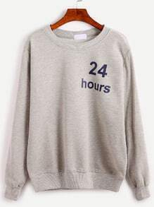Grey 24 Hours Print Sweatshirt
