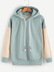 Contrast Drop Shoulder Drawstring Hooded Sweatshirt