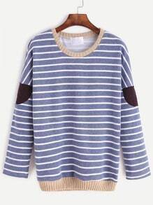 Contrast Trim Striped Elbow Patch Sweatshirt