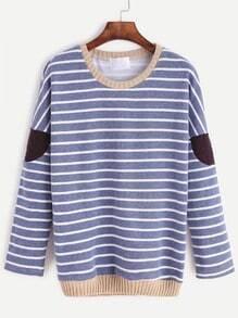 Contrast Trim Striped Elbow Patch Sweatshirt