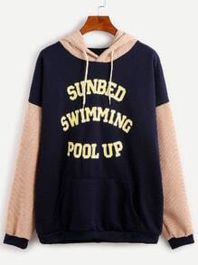 Contrast Letter Print Drop Shoulder Drawstring Hooded Sweatshirt